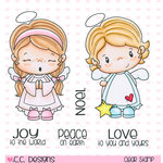 CC Designs - Little Pixie Collection - Christmas - Clear Acrylic Stamps - Angels