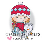 CC Designs - Little Pixies Collection - Cling Mounted Rubber Stamps - Penguin