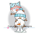 CC Designs - Meoples Collection - Cling Mounted Rubber Stamps - Stack of Snowmen