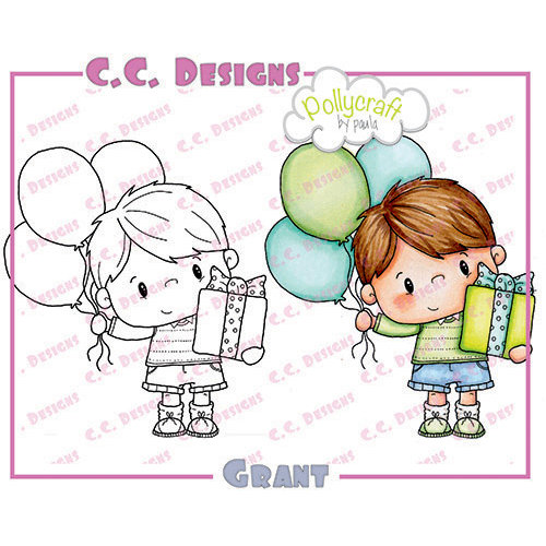 CC Designs - Pollycraft Collection - Cling Mounted Rubber Stamps - Grant