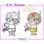 CC Designs - Pollycraft Collection - Cling Mounted Rubber Stamps - Curly