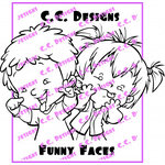 CC Designs - Robertos Rascals Collection - Cling Mounted Rubber Stamps - Funny Faces