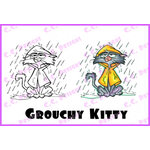 CC Designs - Robertos Rascals Collection - Cling Mounted Rubber Stamps - Grouchy Kitty