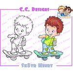 CC Designs - Robertos Rascals Collection - Cling Mounted Rubber Stamps - Sk8tr Henry