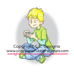 CC Designs - Robertos Rascals Collection - Cling Mounted Rubber Stamps - Gaming Boy Chris