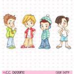 CC Designs - Robertos Rascals Collection - Cling Mounted Rubber Stamps - 4 Seasons Boys