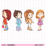 CC Designs - Robertos Rascals Collection - Cling Mounted Rubber Stamps - 4 Seasons Girls
