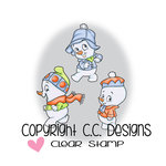 CC Designs - Robertos Rascals Collection - Cling Mounted Rubber Stamps - Snow Boys