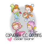 CC Designs - Robertos Rascals Collection - Cling Mounted Rubber Stamps - Snowies