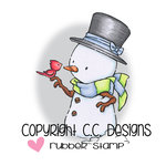 CC Designs - Rustic Sugar Collection - Cling Mounted Rubber Stamps - Snowman with Robin