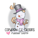 CC Designs - Rustic Sugar Collection - Cling Mounted Rubber Stamps - Snowman with Squirrel