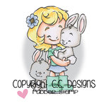 CC Designs - Rustic Sugar Collection - Cling Mounted Rubber Stamps - Cinnamon with Bunny