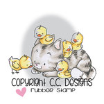 CC Designs - Rustic Sugar Collection - Cling Mounted Rubber Stamps - Kitty with Chicks