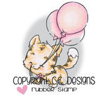 CC Designs - Rustic Sugar Collection - Cling Mounted Rubber Stamps - 3 Balloons Kitty
