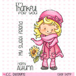 CC Designs - Rustic Sugar Collection - Clear Acrylic Stamps - Cinnamon with Sunflower