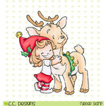 CC Designs - Rustic Sugar Collection - Christmas - Cling Mounted Rubber Stamps - Cinnamon and Reindeer