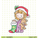 CC Designs - Rustic Sugar Collection - Christmas - Cling Mounted Rubber Stamps - Cinnamon with Stocking