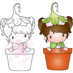 CC Designs - Swiss Pixie Collection - Cling Mounted Rubber Stamps - Potted Lucy