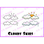 CC Designs - Swiss Pixie Collection - Cling Mounted Rubber Stamps - Cloudy Skies