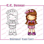 CC Designs - Swiss Pixie Collection - Cling Mounted Rubber Stamps - Birthday Cake Lucy