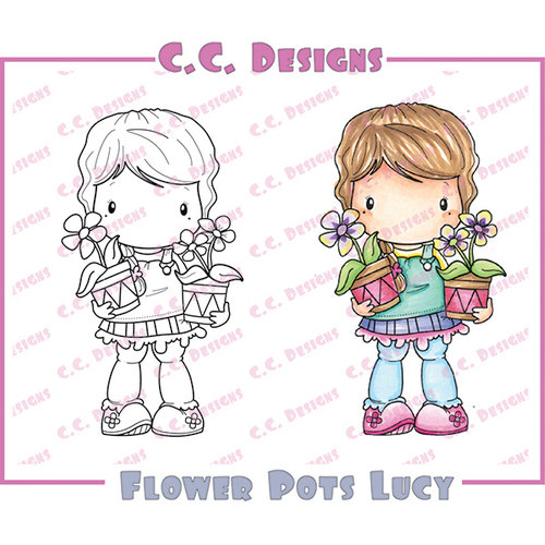 CC Designs - Swiss Pixie Collection - Cling Mounted Rubber Stamps - Flower Pots Lucy