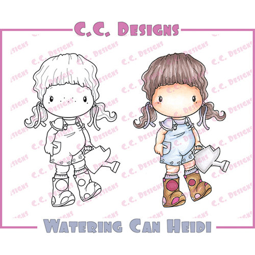 CC Designs - Swiss Pixie Collection - Cling Mounted Rubber Stamps - Watering Can Heidi