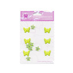 Creative Charms - Bling and Brads Collection - 3 Dimensional Butterfly Brads and Flower Gems - Green, CLEARANCE