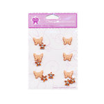 Creative Charms - Bling and Brads Collection - 3 Dimensional Butterfly Brads and Flower Gems - Orange, CLEARANCE