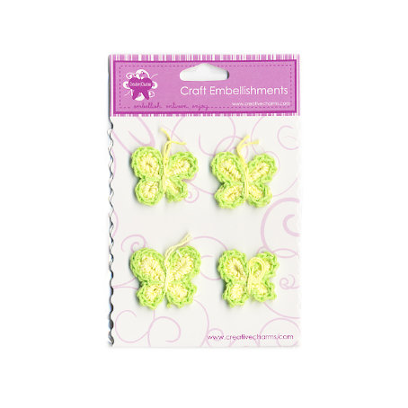 Creative Charms - Countryside Collection - Knitted Butterfly Embellishments - Green and White