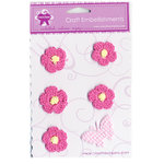 Creative Charms - Countryside Collection - Knitted Flower Embellishments with Butterfly - Pink, CLEARANCE
