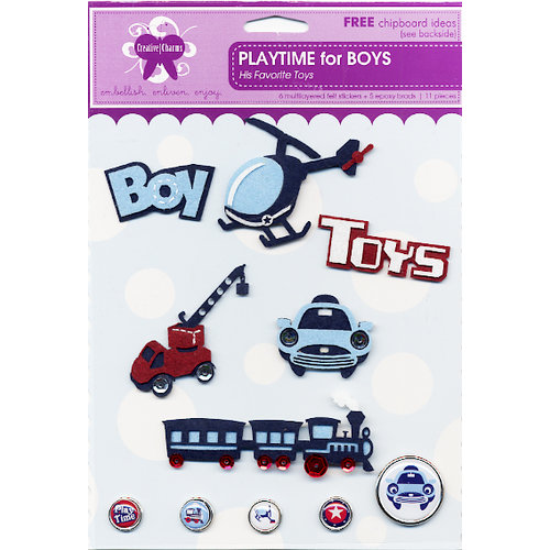 Creative Charms - Eye Candy Collection - Felt Stickers and Epoxy Brads - Playtime Boy