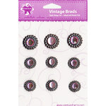 Creative Charms - Vintage Poppies Collection - Gem and Frosted Vintage Brads - Pink, CLEARANCE