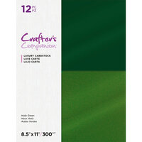 Crafter's Companion - Luxury Cardstock Pack - 12 Sheets - Holly Greens