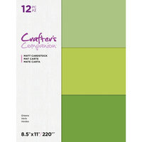 Crafter's Companion - Matte Cardstock Pack - 12 Sheets - Greens