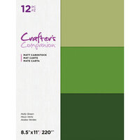 Crafter's Companion - Matte Cardstock Pack - 12 Sheets - Holly Greens