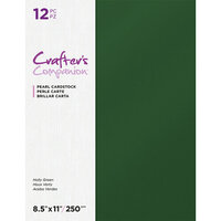 Crafter's Companion - Pearl Cardstock Pack - 12 Sheets - Holly Green