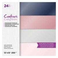 Crafter's Companion - 12 x 12 Pearl Paper Pad - Navy and Blush