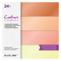 Crafter's Companion - 12 x 12 Pearl Paper Pad - Orange Sunset