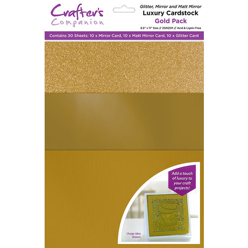 Crafter's Companion - Luxury Mixed Cardstock Pack - 30 Sheets - Gold