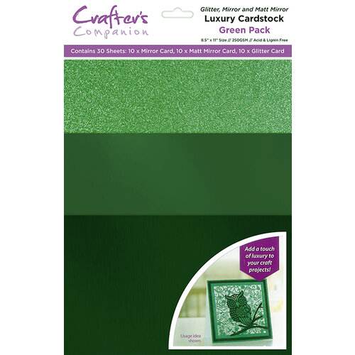 Crafter's Companion - Luxury Mixed Cardstock Pack - 30 Sheets - Green