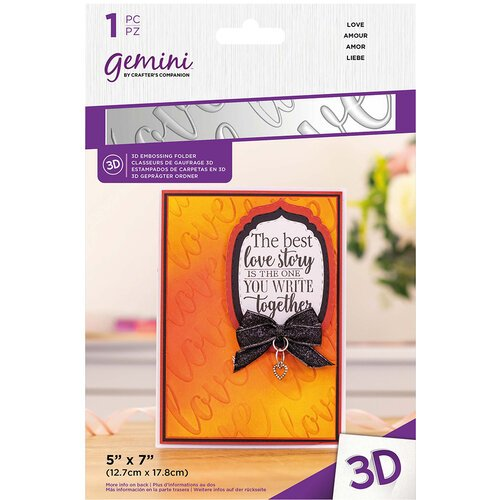 Crafter's Companion - 3D Embossing Folder - Love