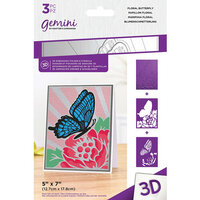 Crafter's Companion - 3D Embossing Folder and Stencil Set - Floral Butterfly