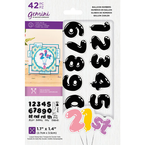 Crafter's Companion - Gemini - Clear Acrylic Stamp and Die Set - Balloon Numbers