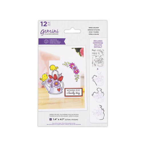Crafter's Companion - Gemini - Die and Clear Acrylic Stamp Set - Birds and Bloom
