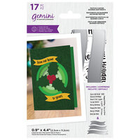 Crafter's Companion - Gemini - Clear Acrylic Stamp and Die Set - Festive Curved Banner Sentiments