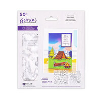Crafter's Companion - Staycation Collection - Gemini - Die and Clear Acrylic Stamp Set - Happy Camper