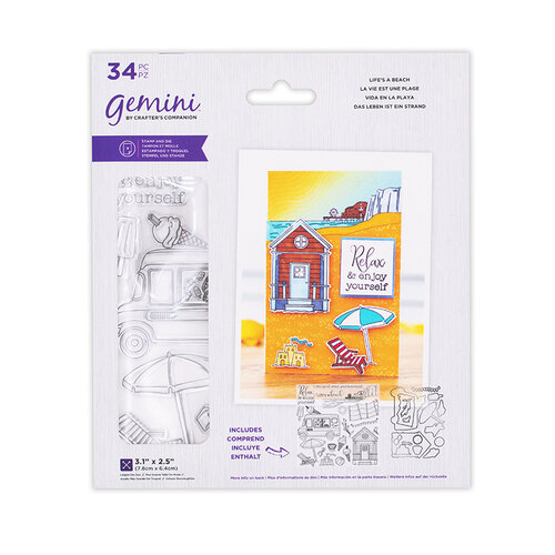 Crafter's Companion - Staycation Collection - Gemini - Die and Clear Acrylic Stamp Set - Life's a Beach