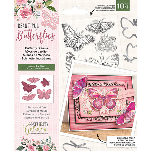 Crafter's Companion - Natures Garden Collection - Clear Photopolymer Stamp and Die Set - Butterfly Dreams