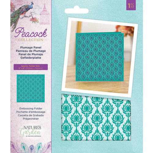 Crafter's Companion - Peacock Collection - Embossing Folder - Plumage Panel