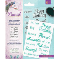 Crafter's Companion - Peacock Collection - Clear Acrylic Stamps - Words of Inspiration